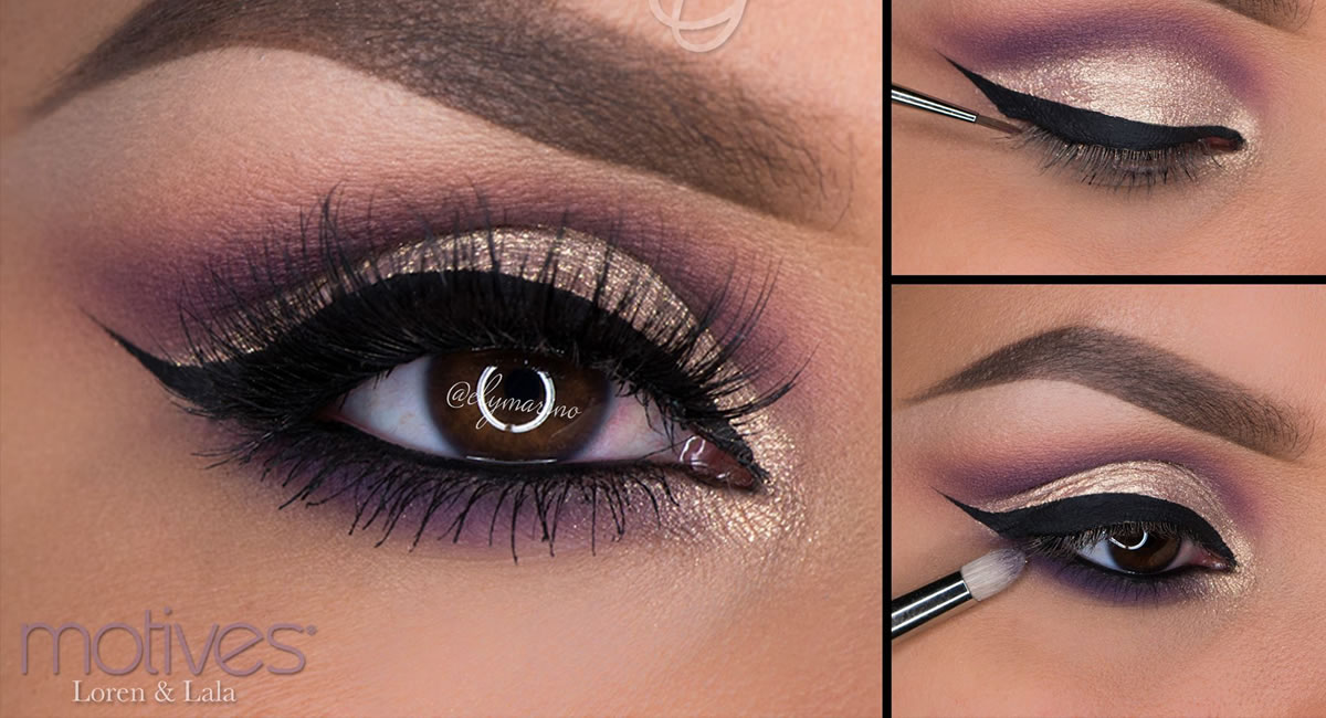 Motives gold and purple shimmer look