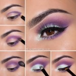 Smokey eyes in mint and purple